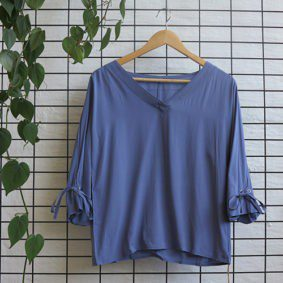 V-Neck 3/4 Blouse with Tie detail on sleeve