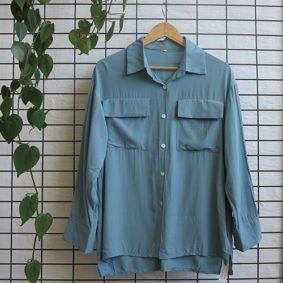 Dbl Breasted Pocket Blouse