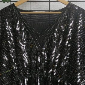 V-Neck all over sequin Dress