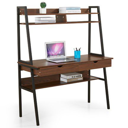urban desk and bookshelf